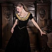 Одежда ручной работы. Ярмарка Мастеров - ручная работа Платье черное в пол 19 век Каренина. Handmade.