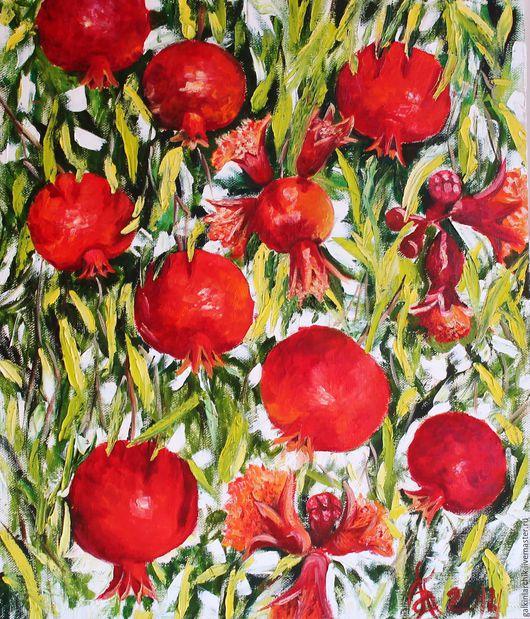 Картины цветов ручной работы. Ярмарка Мастеров - ручная работа. Купить Картина. Handmade. Ярко-красный, картина с фруктами