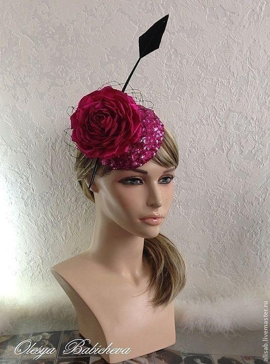 """Шляпы ручной работы. Ярмарка Мастеров - ручная работа. Купить Вечерняя шляпка """"Purple rose"""". Handmade. Фуксия, авторская шляпка"""