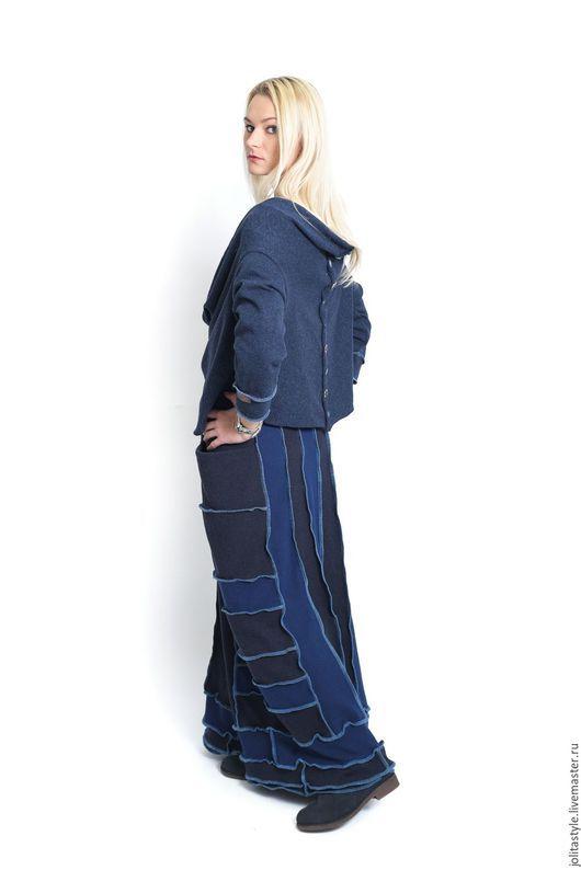 Юбки ручной работы. Ярмарка Мастеров - ручная работа. Купить Длинная, синяя, шерстянная юбка. Handmade. Серый, синий, с карманами
