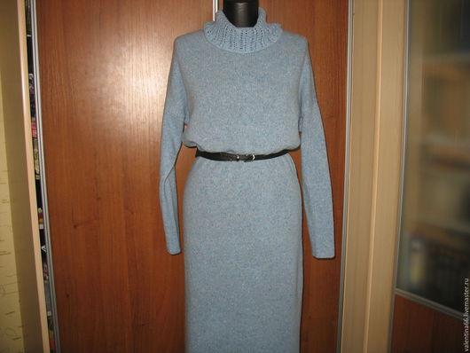 """Платья ручной работы. Ярмарка Мастеров - ручная работа. Купить Платье из твида """" Безмятежность"""". Handmade. Голубой, вязаное платье"""