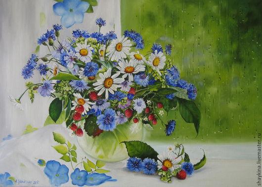 Картины цветов ручной работы. Ярмарка Мастеров - ручная работа. Купить Картина маслом. Летний дождь. Handmade. Картина, ромашки