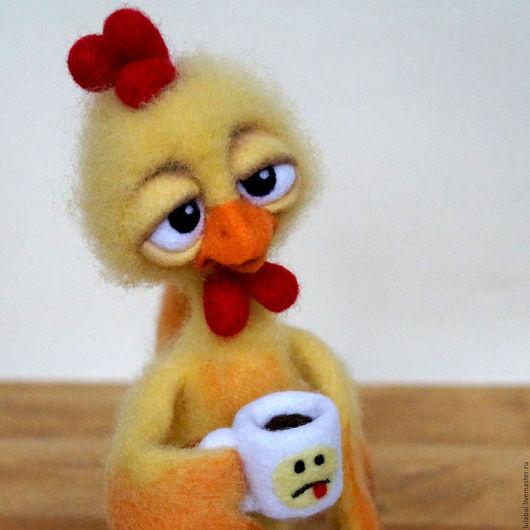 Новый год 2017 ручной работы. Ярмарка Мастеров - ручная работа. Купить Петух. Валяная игрушка. Handmade. Желтый, интерьерная игрушка
