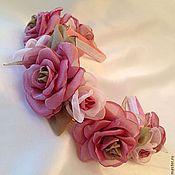 """Диадемы ручной работы. Ярмарка Мастеров - ручная работа Ободок""""Брусничные розы""""Обруч из роз ручной работы. Handmade."""