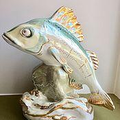 Винтаж handmade. Livemaster - original item Fabulous ruff 27 cm Dulevo porcelain vintage USSR 1955 fish. Handmade.