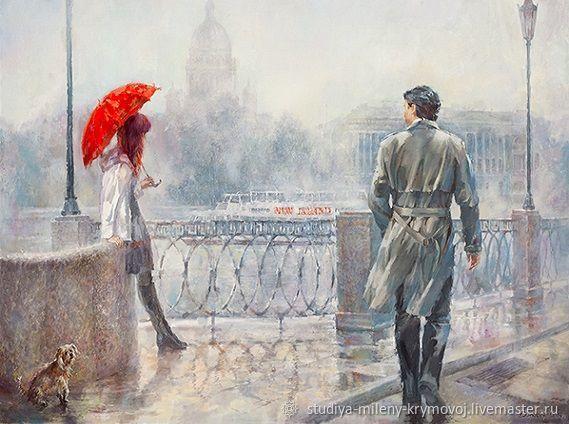 Репродукция картины О. Дандорфа - Красный зонт, Картины, Москва,  Фото №1
