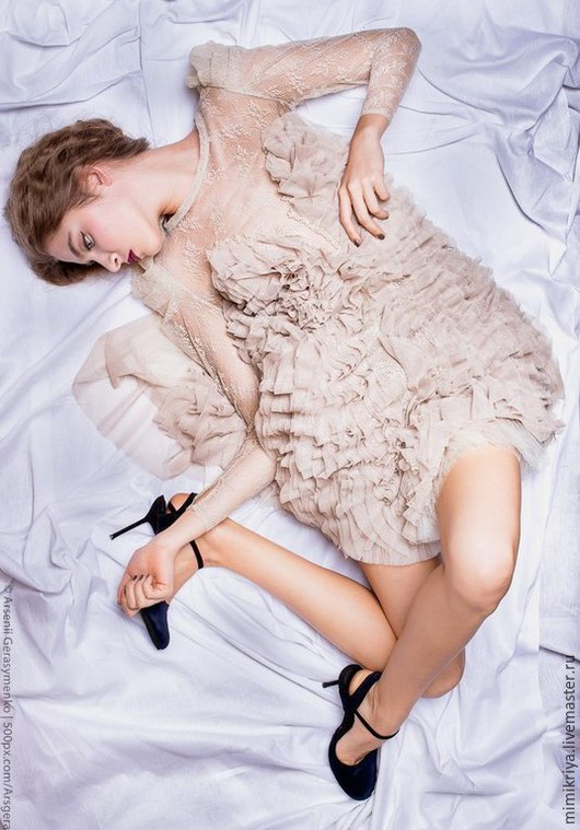 Платья ручной работы. Ярмарка Мастеров - ручная работа. Купить Платье PAVANE (JVV ClothingBrand). Handmade. Бежевый, подъюбник