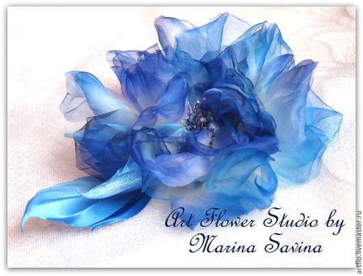 """Цветы ручной работы. Ярмарка Мастеров - ручная работа. Купить """"Зимний воздух"""" - роза из шёлка. Handmade. Голубой, украшения в подарок"""