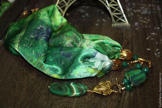 """Колье, бусы ручной работы. Ярмарка Мастеров - ручная работа. Купить Колье """"ЖУИ"""" из шелка с натуральными агатами. Листья. Handmade."""