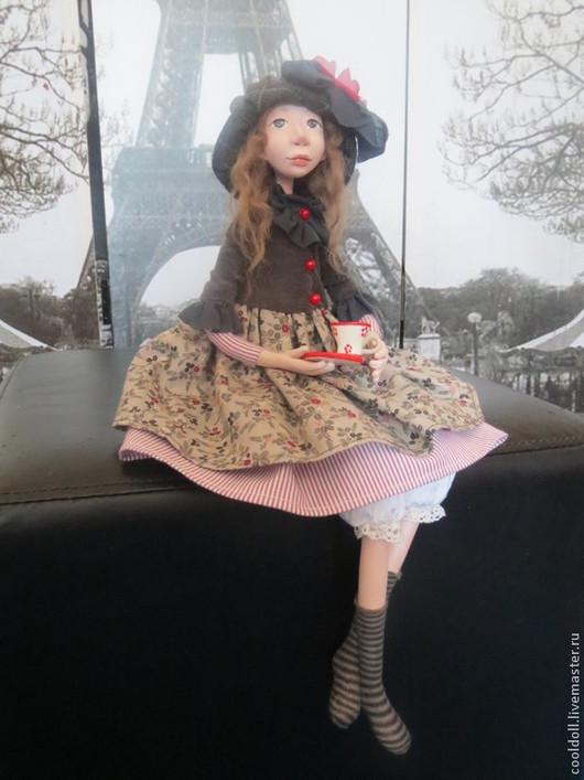 Коллекционные куклы ручной работы. Ярмарка Мастеров - ручная работа. Купить Николь. Handmade. Серый, чашка с блюдцем, текстиль