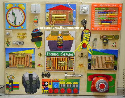 """Развивающие игрушки ручной работы. Ярмарка Мастеров - ручная работа. Купить Бизиборд  Развивающий Модуль Доска  """"Универсальный Тренажёр""""+3дверцы. Handmade."""