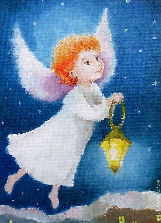 Новый год 2017 ручной работы. Ярмарка Мастеров - ручная работа. Купить Ангел с фонариком Открытка на день рождения. Handmade. Синий