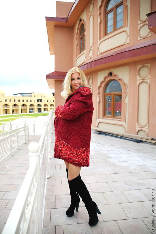"""Верхняя одежда ручной работы. Ярмарка Мастеров - ручная работа. Купить Пальто """"Кокетка"""". Handmade. Бордовый, пальто дизайнерское, френч"""