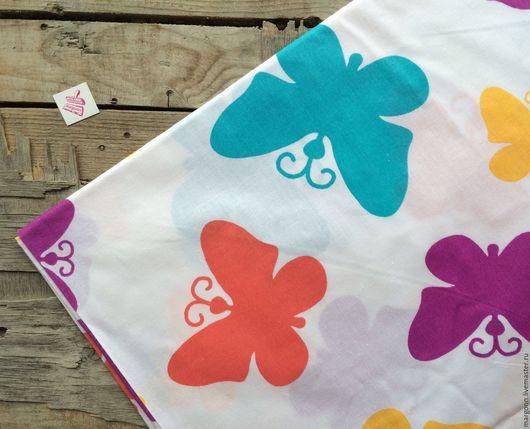 Шитье ручной работы. Ярмарка Мастеров - ручная работа. Купить ткань хлопок/ бабочки. Handmade. Хлопок, хлопок 100%