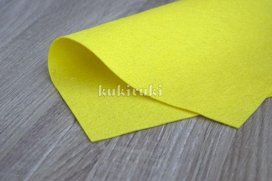 Валяние ручной работы. Ярмарка Мастеров - ручная работа. Купить Желтый полушерстяной фетр. Handmade. Фетр, фетр листовой