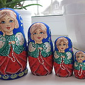"Русский стиль handmade. Livemaster - original item Matryoshka ""Girl with beads"" 5 m. Handmade."