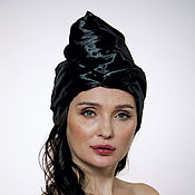 "Аксессуары handmade. Livemaster - original item Black silk ""vinyl"" turban hat hijab. Handmade."
