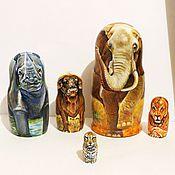 Русский стиль handmade. Livemaster - original item The African Big Five Matryoshka African animals nesting dolls. Handmade.