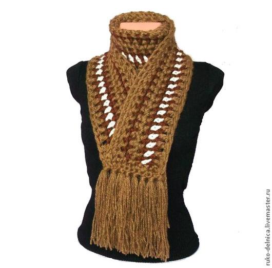Шарфы и шарфики ручной работы. Ярмарка Мастеров - ручная работа. Купить Шарфик женский (зимний теплый шарф коричневый белый вязаный). Handmade.
