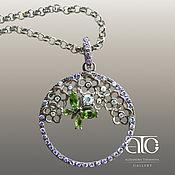 Украшения handmade. Livemaster - original item Large pendant necklace with gemstones and CZ. 925 sterling silver PR. Handmade.
