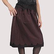Одежда handmade. Livemaster - original item Burgundy skirt with lace on elastic viscose 65cm. Handmade.