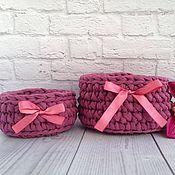 Для дома и интерьера ручной работы. Ярмарка Мастеров - ручная работа Набор корзин из пряжи лента. Handmade.