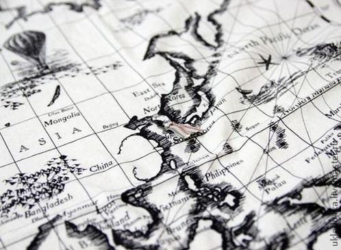 """Шитье ручной работы. Ярмарка Мастеров - ручная работа. Купить Ткань - лен """"Карта мира"""". Купон.. Handmade. Лен"""