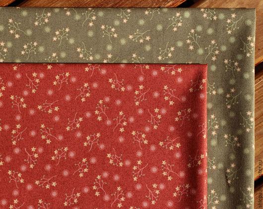 """Шитье ручной работы. Ярмарка Мастеров - ручная работа. Купить Ткань для пэчворка """"Веточки со звездами"""". Handmade. Зеленый"""