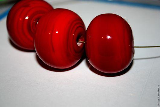Для украшений ручной работы. Ярмарка Мастеров - ручная работа. Купить Лэмпворк, полые бусины в форме рондели, красный. Handmade.