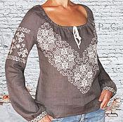 Одежда ручной работы. Ярмарка Мастеров - ручная работа Блузка женская ДЫМКА Льняная блуза вышиванка женская Модные блузки. Handmade.