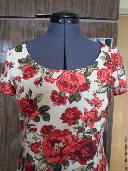 """Платья ручной работы. Ярмарка Мастеров - ручная работа. Купить Летнее льняное платье - футляр """" Алые розы"""". Handmade."""