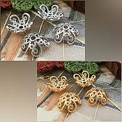 Материалы для творчества handmade. Livemaster - original item Cap beads 10x4 mm platinum, gold (3296). Handmade.