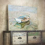 Картины и панно ручной работы. Ярмарка Мастеров - ручная работа картина акрилом Лодочка... (голубой, бежевый, состаренный стиль). Handmade.
