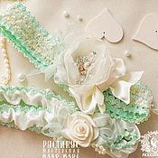 Свадебный салон ручной работы. Ярмарка Мастеров - ручная работа Свадебные Подвязки  (комплект, мятные). Handmade.