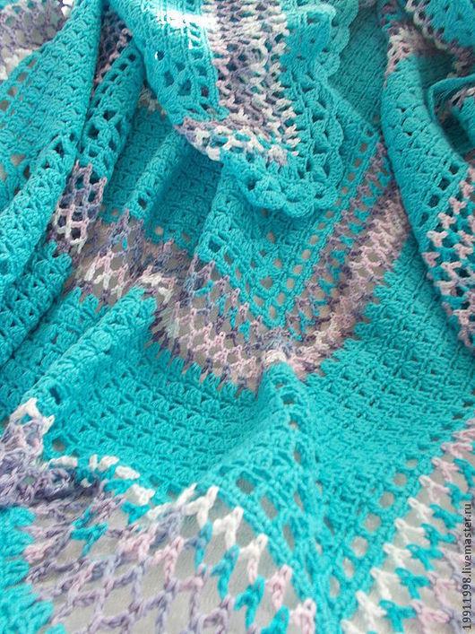 Пледы и одеяла ручной работы. Ярмарка Мастеров - ручная работа. Купить Плед Сказка в бирюзовом цвете. Handmade. Рисунок