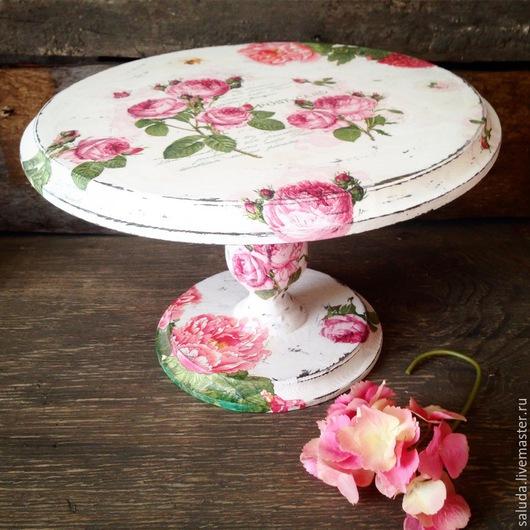 """Кухня ручной работы. Ярмарка Мастеров - ручная работа. Купить Подставка для торта  """"Розовое настроение"""". Handmade. Пионы, шебби шик"""
