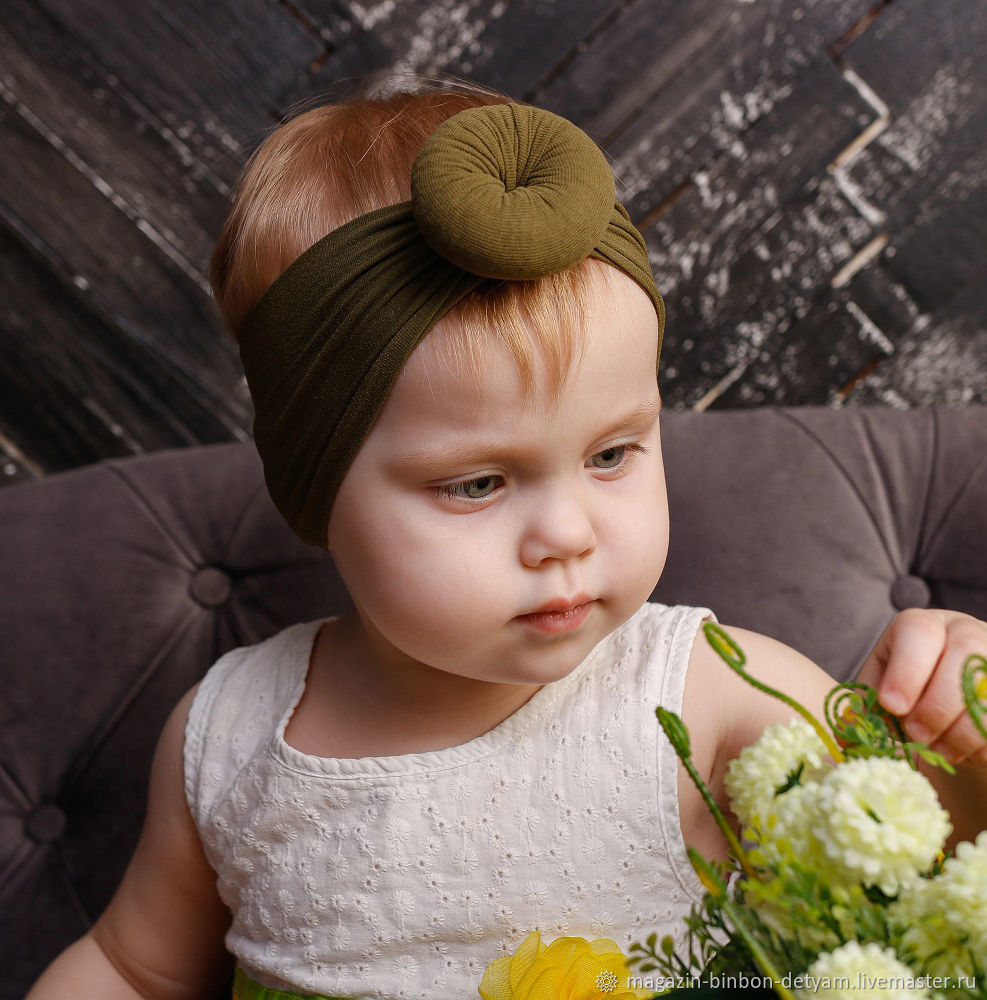 Стильная повязка для девочки фисташкового цвета, Ободки и повязки на голову, Москва,  Фото №1