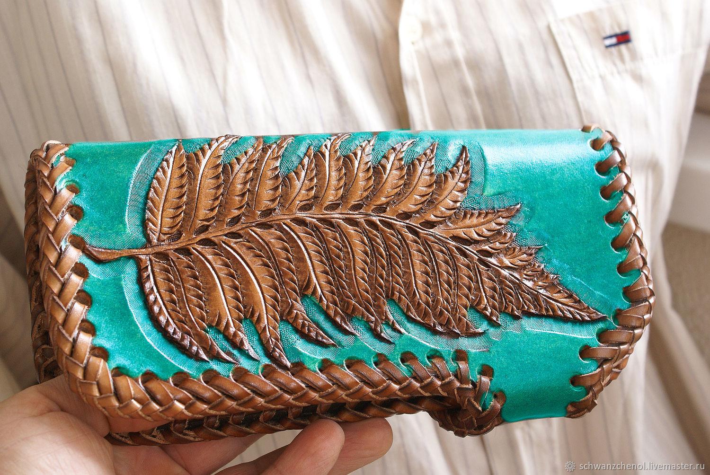 Wallet leather 'Fern small' turquoise, Wallets, Krasnodar,  Фото №1