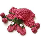 Работы для детей, handmade. Livemaster - original item Hat, scarf and mittens from the wool. Set Malinka. Handmade.