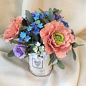 """Букет с цветами из глины """"Цветы в кружке для любимой подружки"""""""