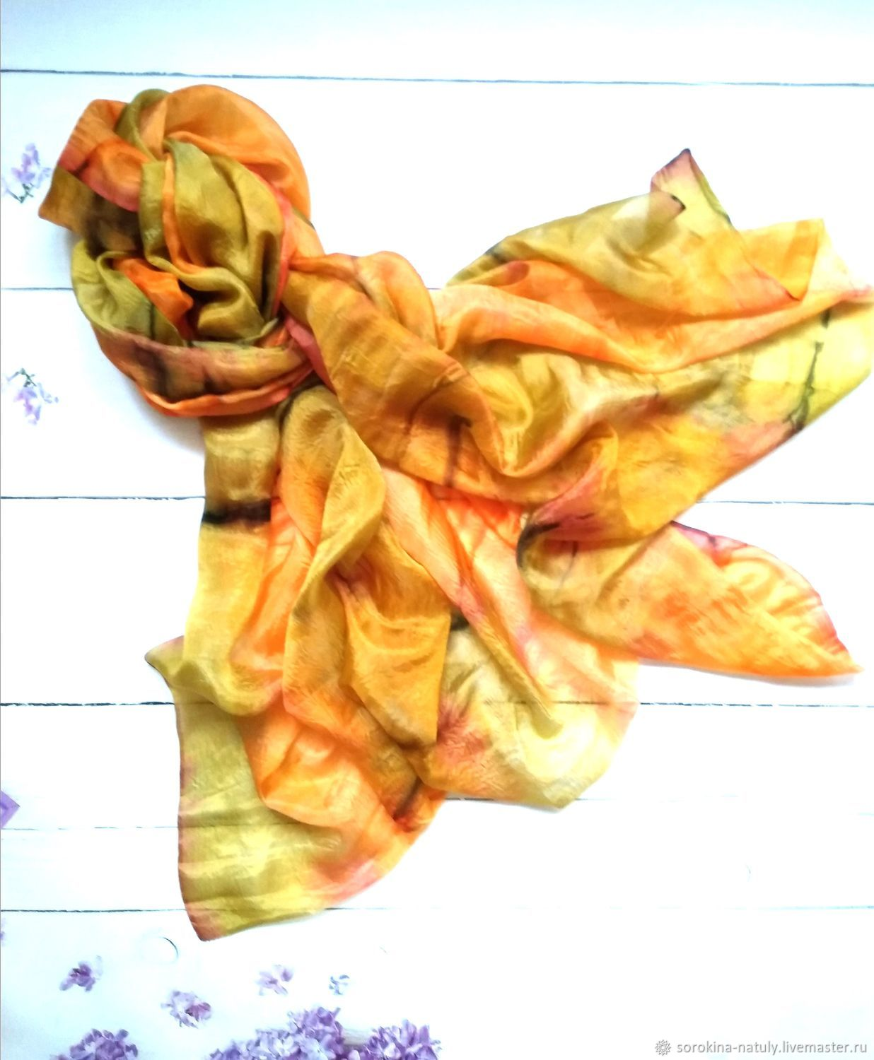 Batik scarf Gold desert, beautiful stole, Scarves, Moscow,  Фото №1