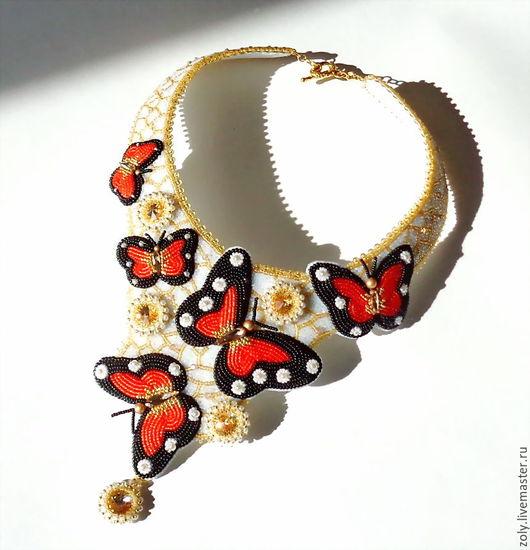 """Колье, бусы ручной работы. Ярмарка Мастеров - ручная работа. Купить Колье и браслет """"Полет бабочки"""". Handmade. Комбинированный"""