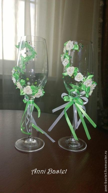 Свадебные аксессуары ручной работы. Свадебные бокалы `Весна в душе`. Anni Bastet. Ярмарка Мастеров.