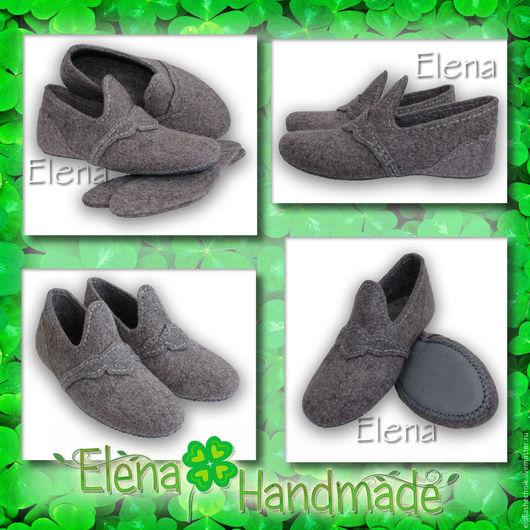 Обувь ручной работы. Ярмарка Мастеров - ручная работа. Handmade. Купить валяные мужские тапочки. Серый, обувь из шерсти