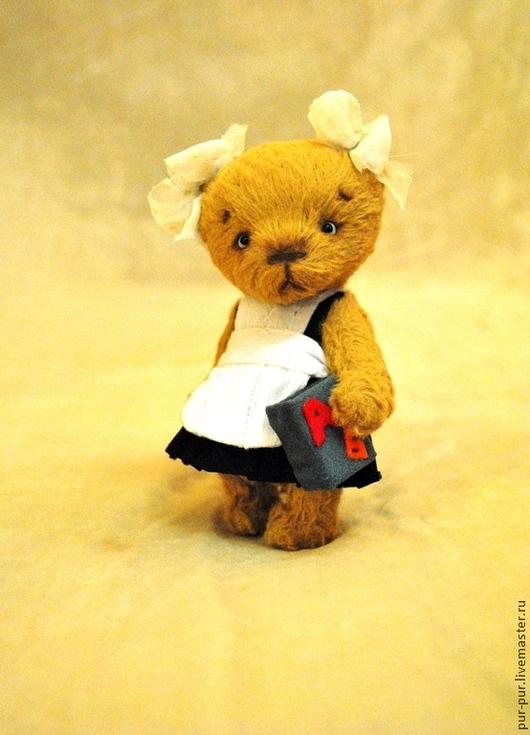 Мишки Тедди ручной работы. Ярмарка Мастеров - ручная работа. Купить Первоклашка Машка. Handmade. Желтый, тедди мишка, teddy