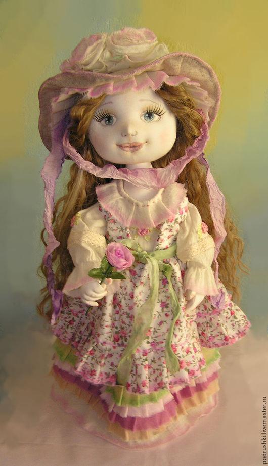 Коллекционные куклы ручной работы. Ярмарка Мастеров - ручная работа. Купить Текстильная кукла Катенька. Handmade. Бледно-розовый, хлопок