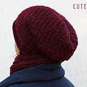 Аксессуары handmade. Livemaster - original item The kit cowl and hat knitted with lurex. Handmade.
