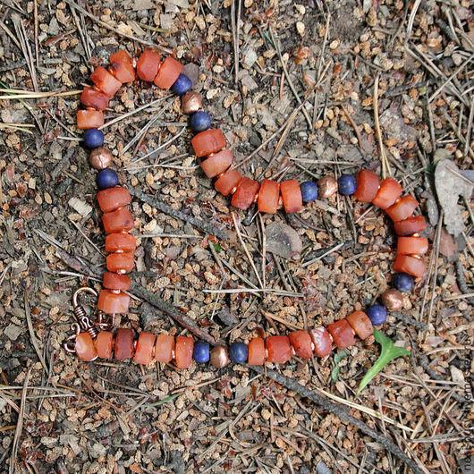 Бусы из  сердолика Медные бусины Бусы с лазуритом Длина 40 см.