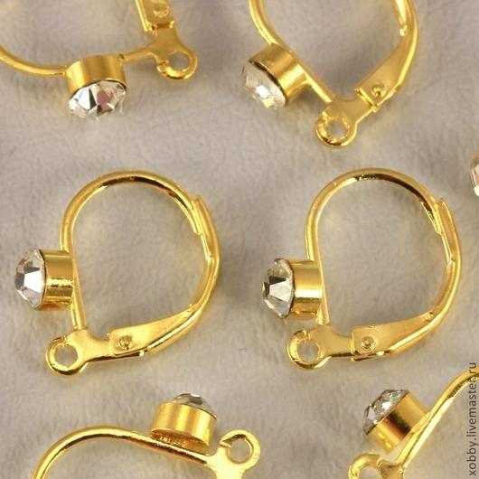 Швензы для сборки сережек с французским замком из латуни с покрытием имитирующим золото и вклеенной ювелирной стразой бесцветного стекла