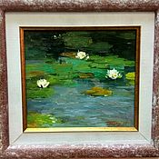 Картины и панно handmade. Livemaster - original item Lily pond classic sketchy impasto painting impressionism. Handmade.